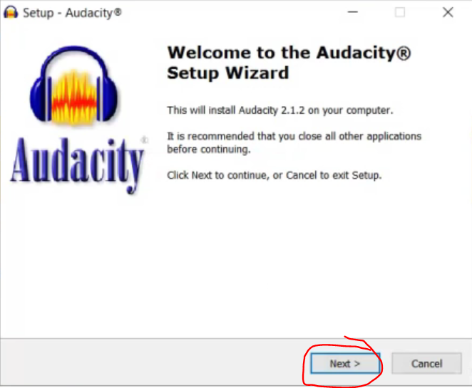 Welcome Message from Audacity